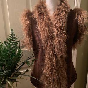 Jackets & Blazers - Like New Rene' Derby  leather fur vest
